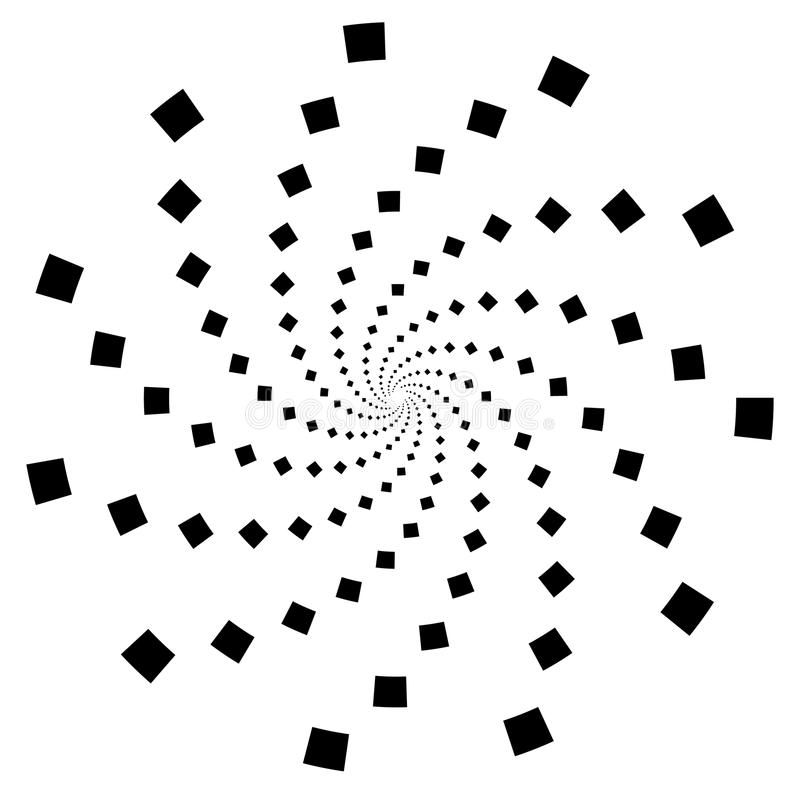 Abstrakter einfarbiger Radialstrahl, Explosionselement Spirale, Turbulenzform stock abbildung