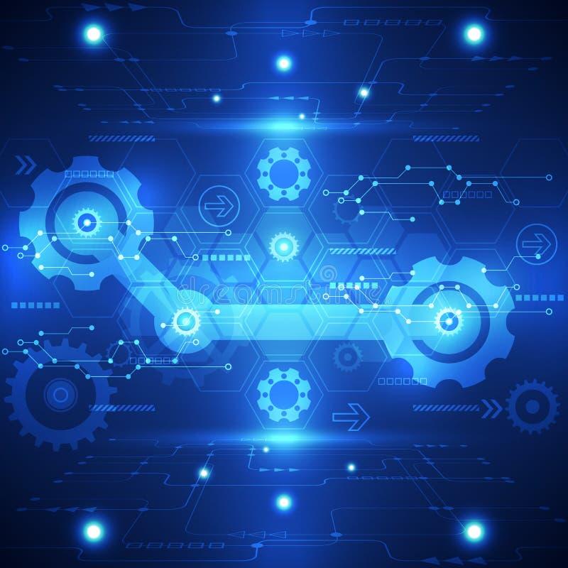 Abstrakter Elementhintergrund der neuen Technologie Auch im corel abgehobenen Betrag lizenzfreie abbildung
