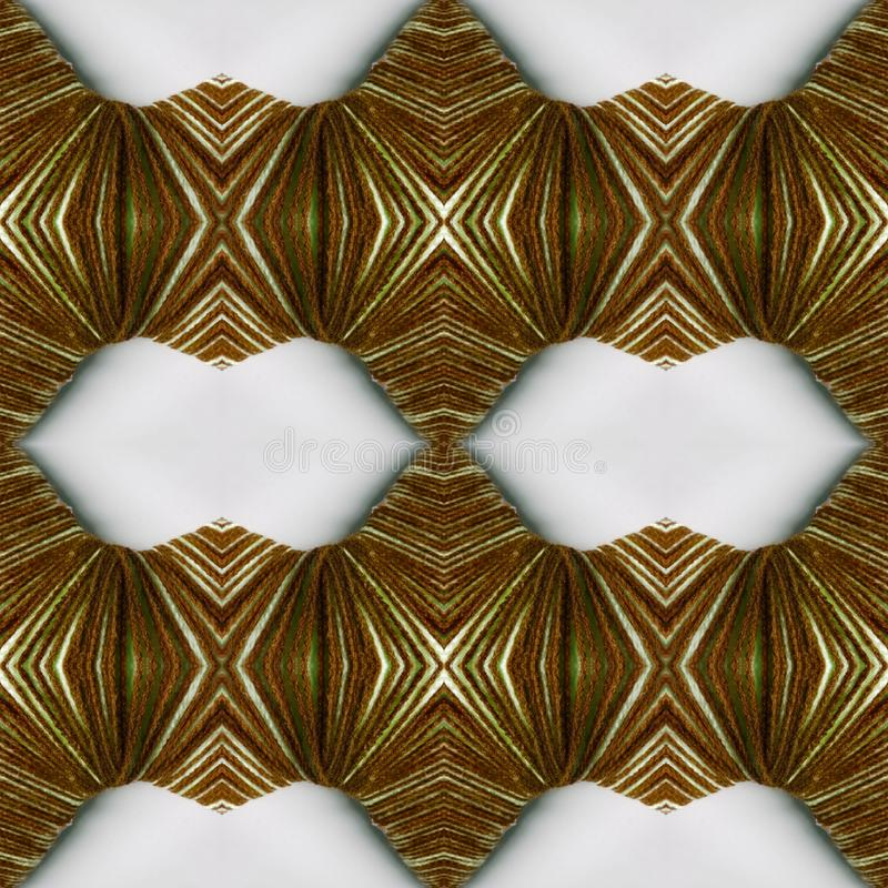 abstrakter Entwurf mit Linien und geometrische Muster auf einer Oberfläche mit den braunen und weißen Faden, Hintergrund und Besc lizenzfreie stockfotos