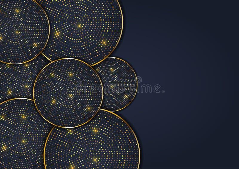 Abstrakter Entwurfshintergrund mit eleganten Goldpunktkreisen stock abbildung