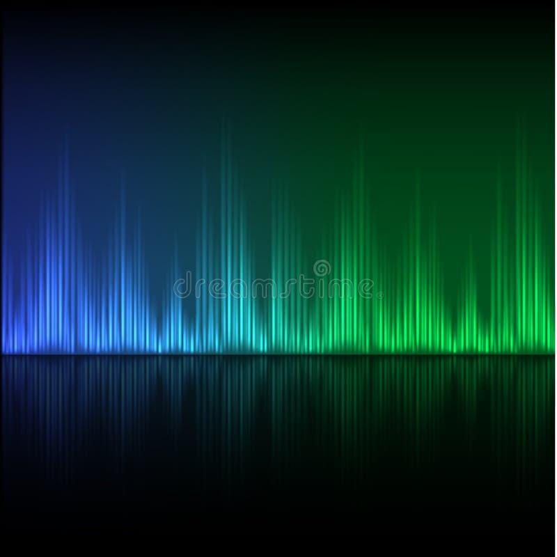 Abstrakter Entzerrerhintergrund Blaugrüne Welle vektor abbildung