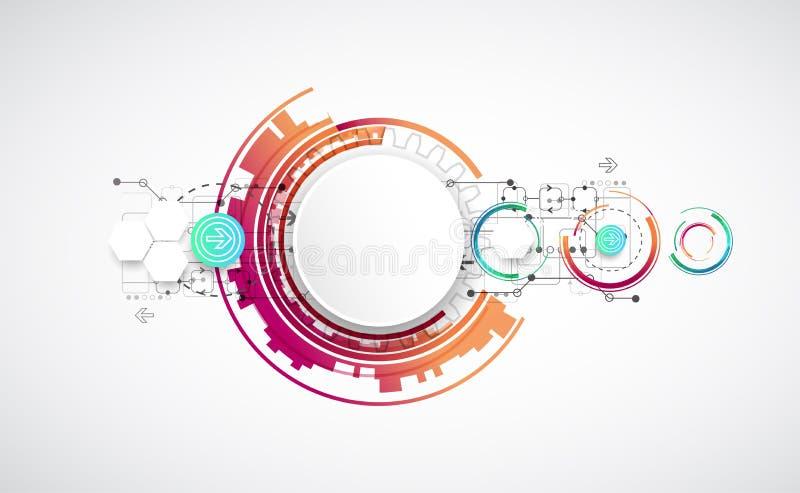 Abstrakter Farbhintergrund mit verschiedenen technologischen Elementen vektor abbildung