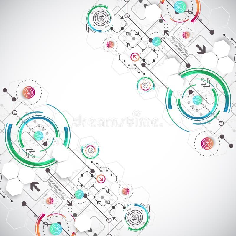 Abstrakter Farbhintergrund mit verschiedenen technologischen Elementen lizenzfreie abbildung
