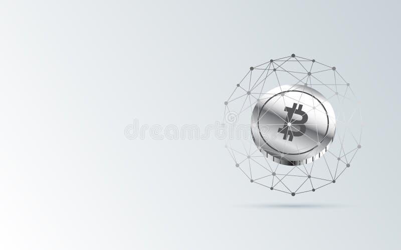 Abstrakter Finanzhintergrund mit bitcoin unterzeichnen im Netzbereich auf grauer Farbe der Steigung lizenzfreie abbildung