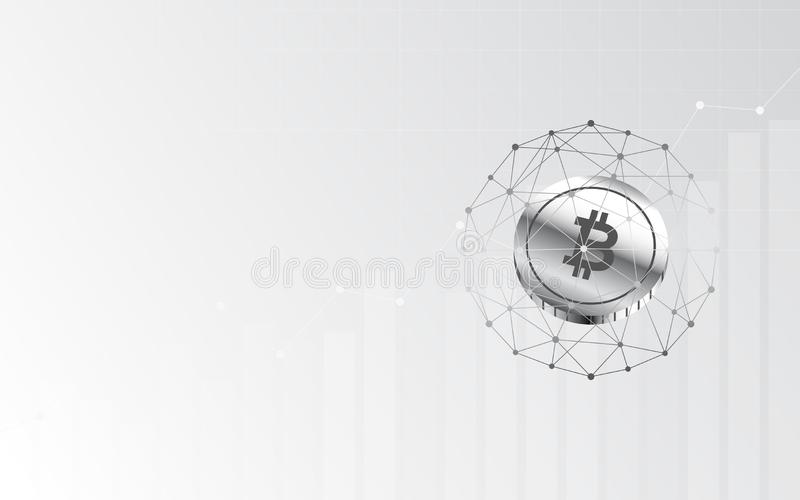 Abstrakter Finanzhintergrund mit bitcoin unterzeichnen im Netzbereich auf grauer Farbe der Steigung stock abbildung