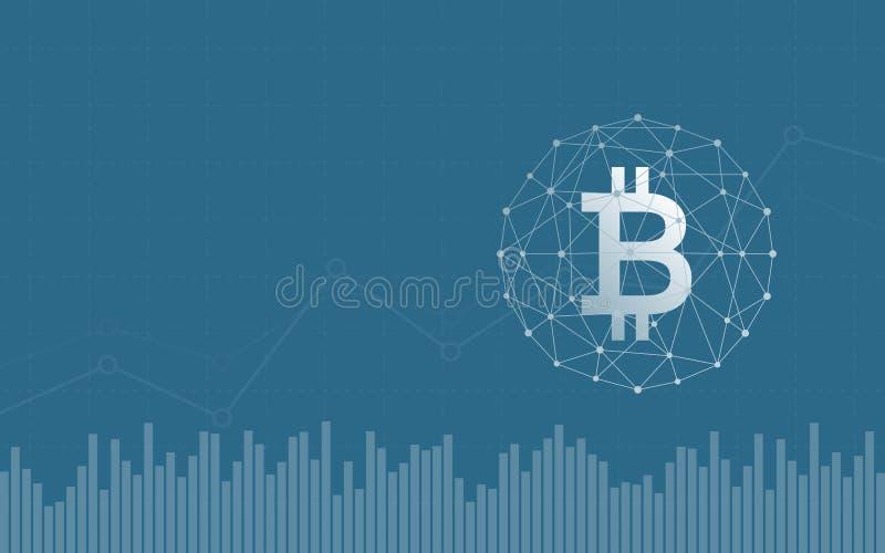 Abstrakter Finanzhintergrund mit bitcoin unterzeichnen im Netzbereich und -diagramm auf blauer Farbe lizenzfreie abbildung