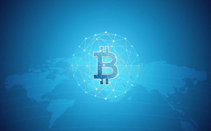 Abstrakter Finanzhintergrund mit bitcoin unterzeichnen im Netzbereich und -Weltkarte auf blauer Farbe der Steigung lizenzfreie abbildung