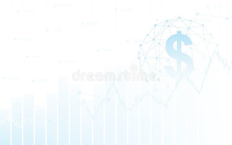 Abstrakter Finanzhintergrund mit Dollar unterzeichnen im Netzbereich und -diagramm auf weißer Farbe stock abbildung