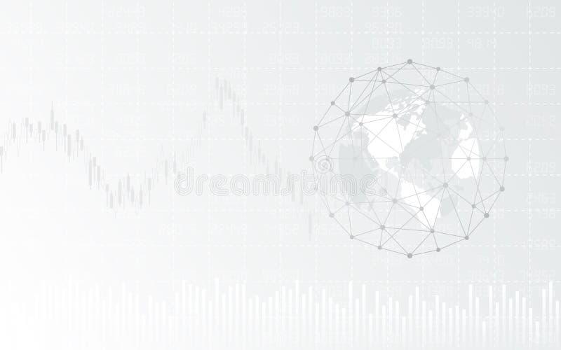 Abstrakter Finanzhintergrund mit globalem im Netzbereich und -diagramm auf weißer Farbe lizenzfreie abbildung