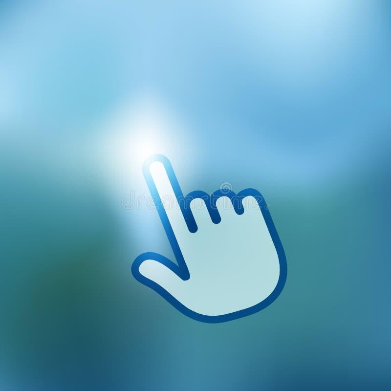 Abstrakter Finger, der den Knopf drückt stock abbildung