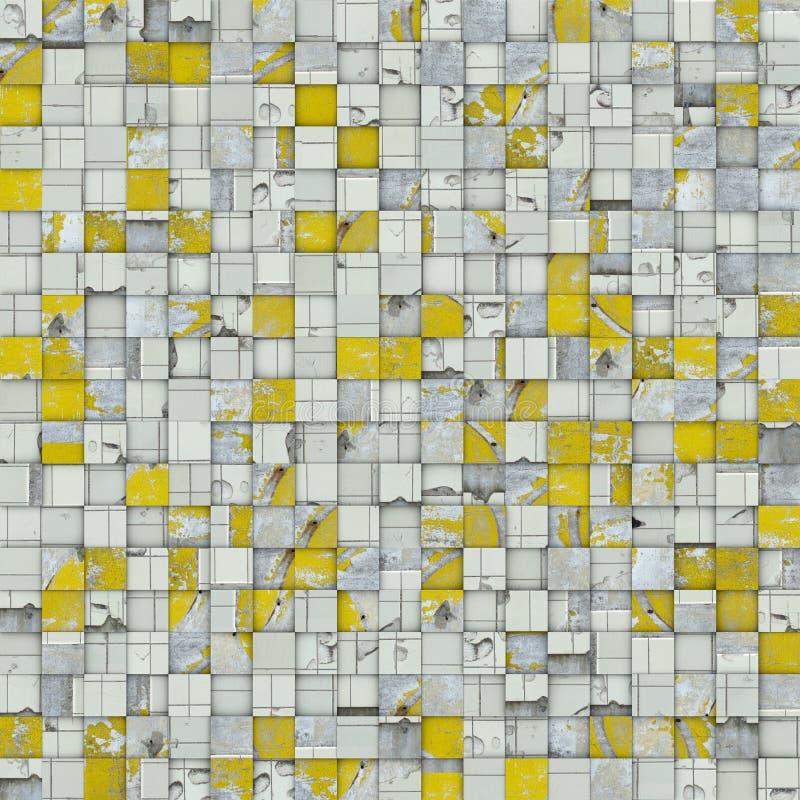 Abstrakter Fliesenmosaikhintergrund im gelben Weiß stock abbildung