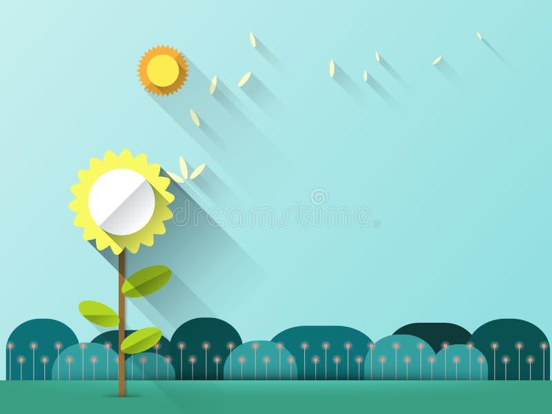 Abstrakter Frühlingshintergrund mit Papierblumen mit Raum für Design lizenzfreie abbildung