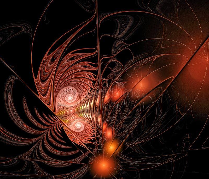 Abstrakter Fractal eines Funkelnschmetterlinges auf einem schwarzen Hintergrund, computererzeugt lizenzfreie abbildung
