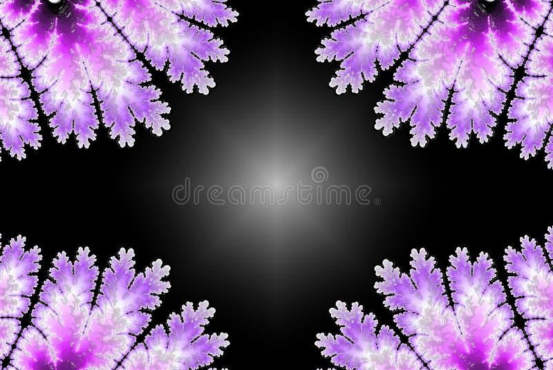 Abstrakter Fractalhintergrund im Veilchen mit copyspace Flache Hochzeitsschablone mit Rahmen auf hellem Hintergrund für dekorativ vektor abbildung
