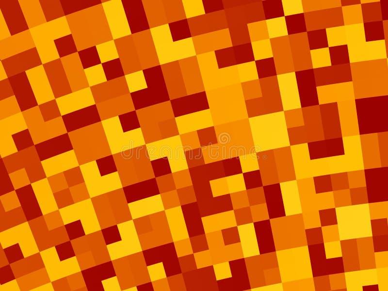 Abstrakter Fractalhintergrund in Rotem, in Orange, in Gelbem und in Braunem, mit einem gebogenen Retro- Pixelmosaik lizenzfreie abbildung