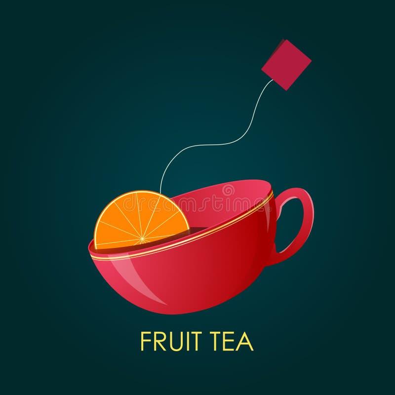 Abstrakter Frucht-Tee Keramisches Cup Auch im corel abgehobenen Betrag stock abbildung