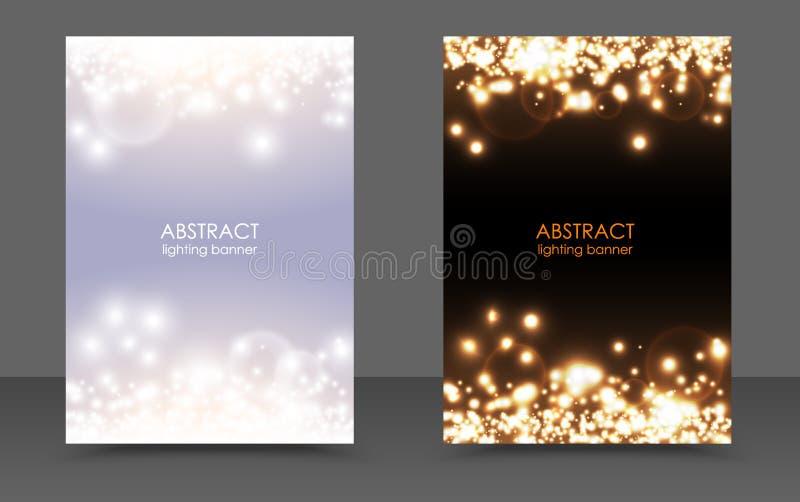 Abstrakter funkelnder magischer Hintergrundsatz der Weihnachtslichter Vector Licht und helles festliches Plakat des dunklen Glühe vektor abbildung
