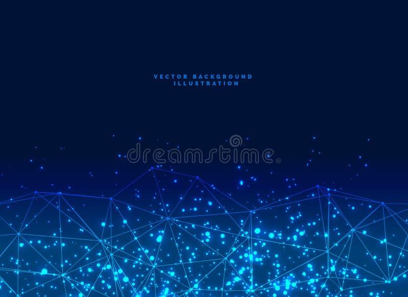 Abstrakter futuristischer Digitalnetzpartikel baner Hintergrund lizenzfreie abbildung