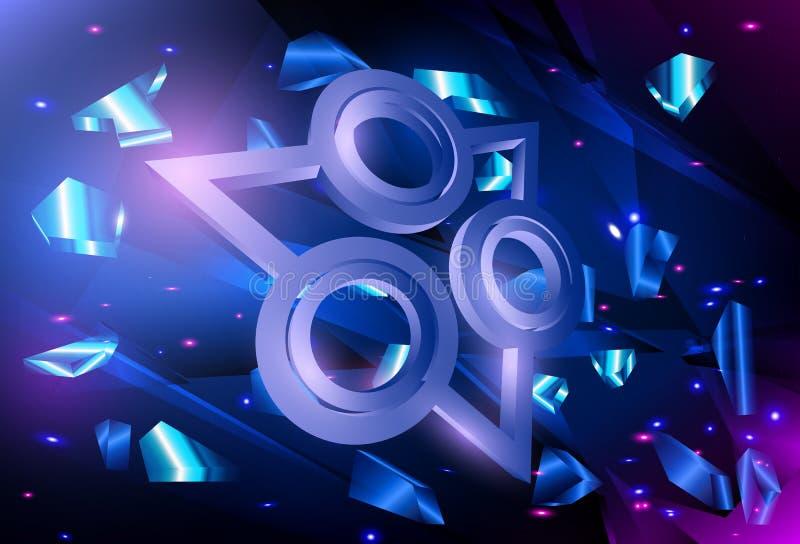 Abstrakter futuristischer Digitaltechnikhintergrund Techno-Art-Vektorexplosion lizenzfreie abbildung