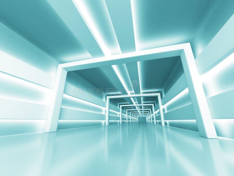 Abstrakter futuristischer glänzender heller Architektur-Hintergrund lizenzfreie abbildung
