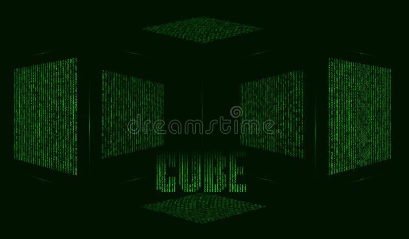 Abstrakter futuristischer grüner Hintergrund mit Würfel in der Matrixart stock abbildung
