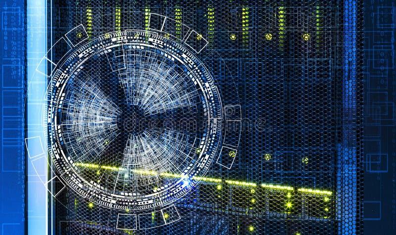 Abstrakter futuristischer Hintergrund über dem Magnetplattenspeicher der Supercomputers stockbild