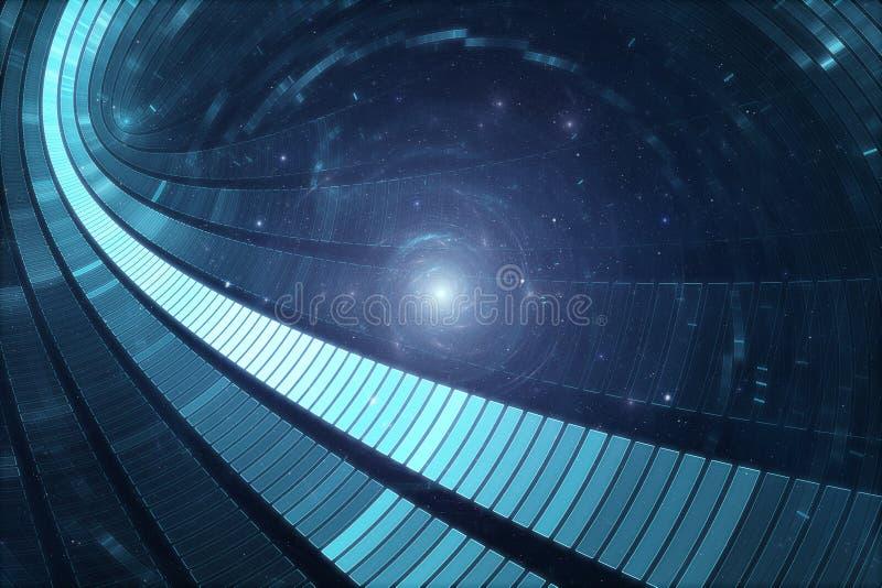abstrakter futuristischer Hintergrund der 3D Zukunftsromane stock abbildung