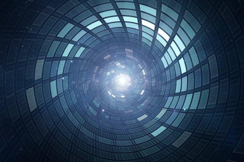 abstrakter futuristischer Hintergrund der 3D Zukunftsromane lizenzfreie abbildung