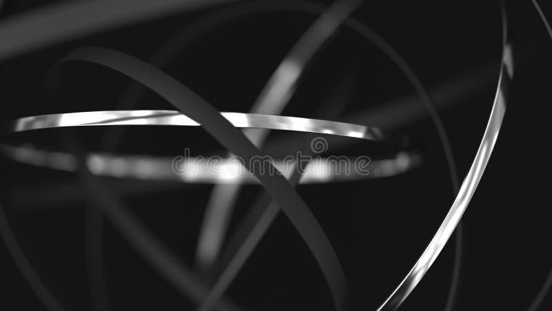 Abstrakter futuristischer Hintergrund Ringe der Bewegung 3d Metall stock abbildung