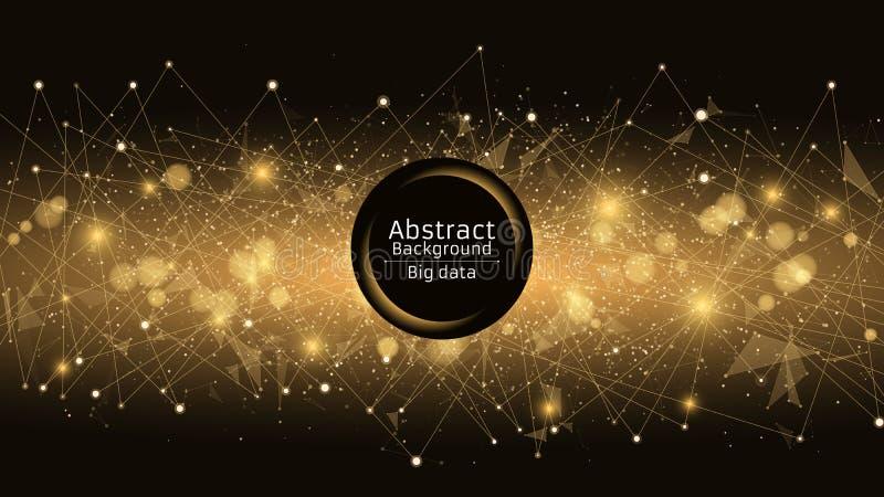 Abstrakter futuristischer Hintergrund Verbindung von Dreiecken und von Punkten Moderne Technologien im Design Ein glühendes Netz  lizenzfreie abbildung