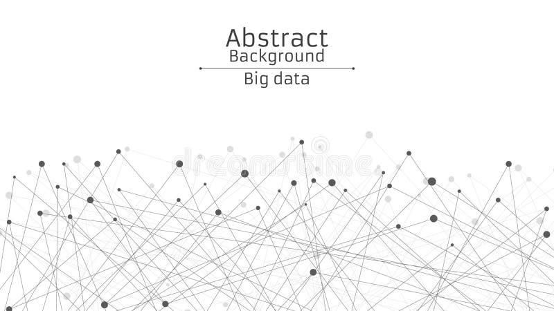 Abstrakter futuristischer Hintergrund Verbindung von Linien und von Punkten im Schwarzen Weißer Hintergrund Schwarzes, vernetztes stock abbildung