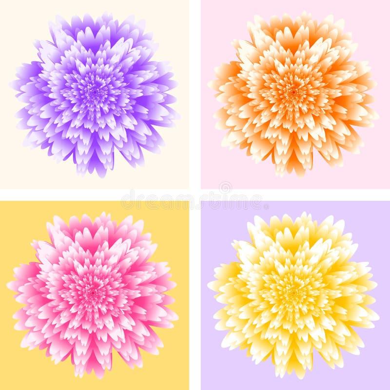 Abstrakter futuristischer Hintergrund, vier Asterblumen in der Pop-Arten-Art stock abbildung