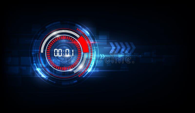 Abstrakter futuristischer Technologie-Hintergrund mit Digital-Zahlti lizenzfreie abbildung