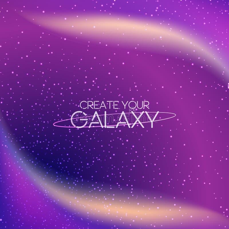 Abstrakter Galaxiehintergrund mit Milchstraße, stardust, Nebelfleck und hellen glänzenden Sternen Kosmische Vektorillustration vektor abbildung
