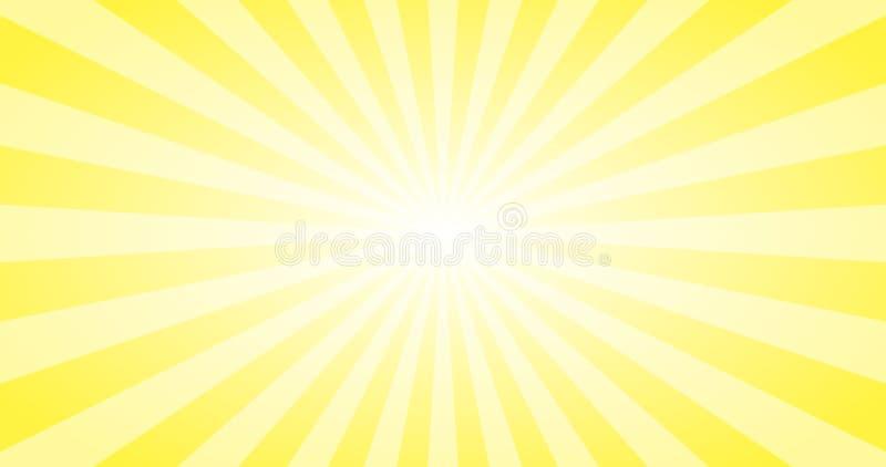 Abstrakter gelber Sun-Strahlnvektorhintergrund Sonniger Entwurf 4K des Sommers lizenzfreie abbildung