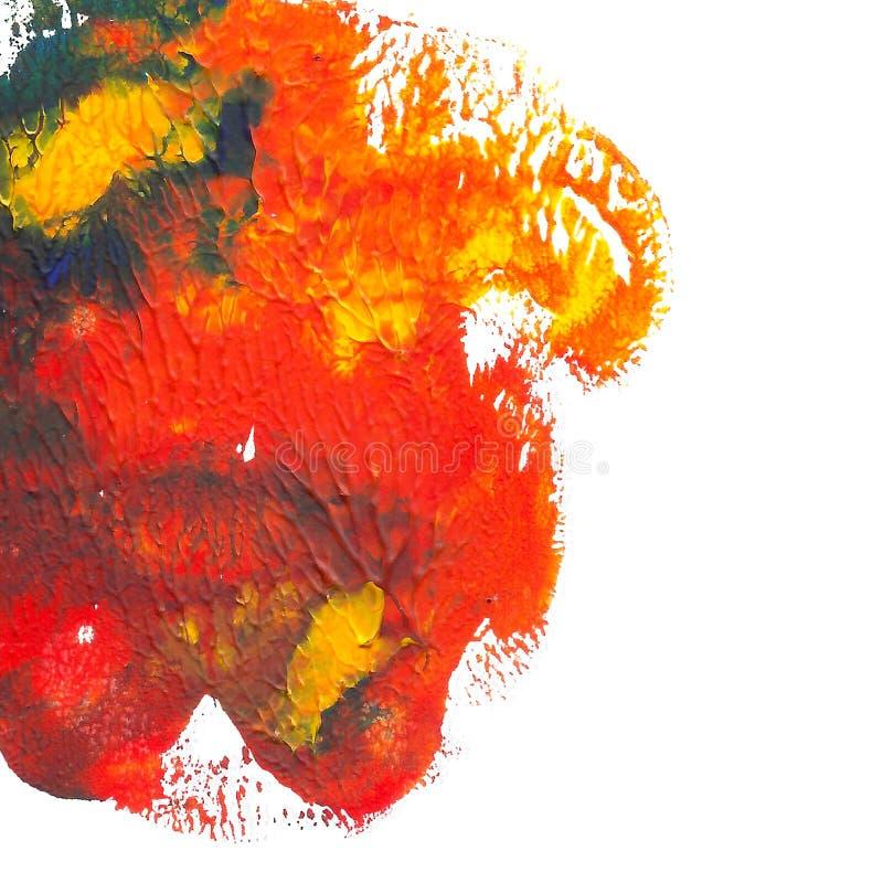 Abstrakter gemalter Acrylhintergrund Rote, orange, blaue, gelbe vibrierende Farbe Gezeichneter Schmutz Monotyped Hand lizenzfreie abbildung