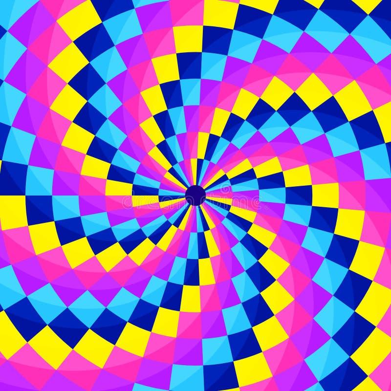 Abstrakter geometic Hintergrund, festliches Muster mit verschiedenen Formen in der Spirale Helle und klare Farben von 80s, Neonar vektor abbildung