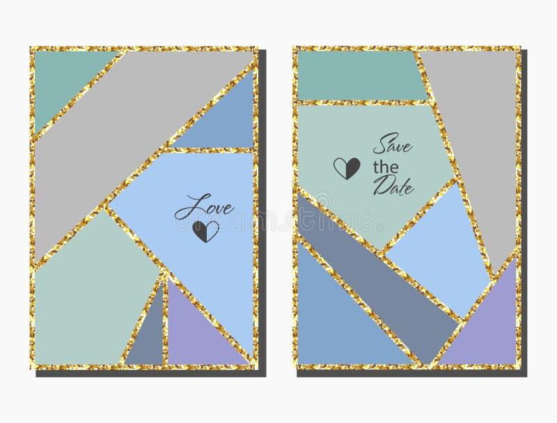 Abstrakter geometrischer bunter Hintergrundkartensatz mit Goldfunkelnbeschaffenheit lizenzfreie abbildung