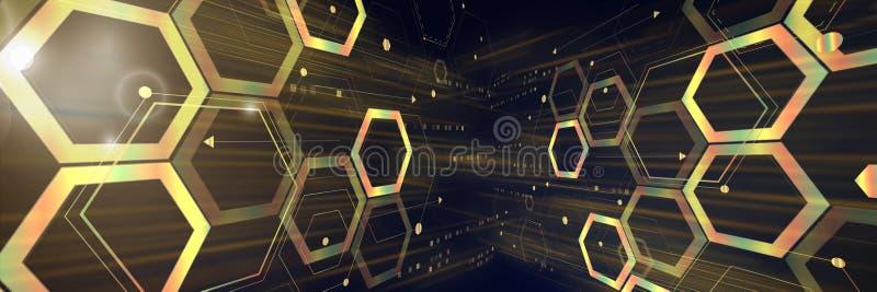 Abstrakter geometrischer futuristischer Digitaltechnik- und Wissenschaftshintergrund stockfotos