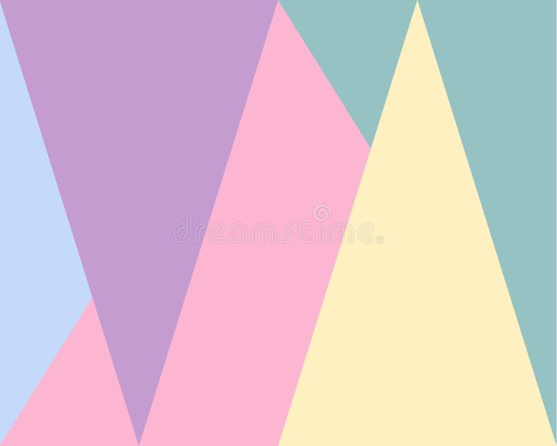 Abstrakter geometrischer Hintergrund, blaues grünes gelbes lila Dreieckmuster des Rosas stock abbildung