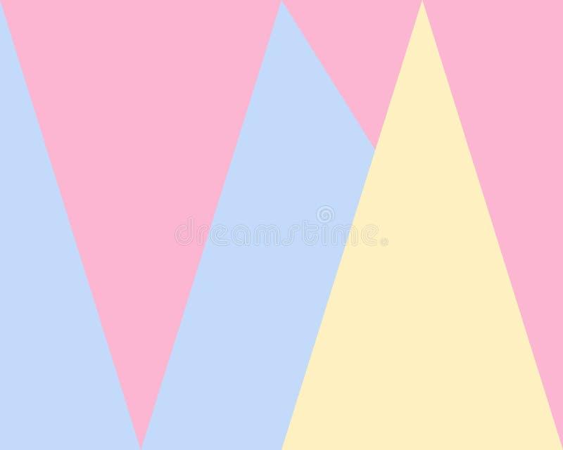 Abstrakter geometrischer Hintergrund, blaues rosa gelbes Dreieckmuster lizenzfreie abbildung