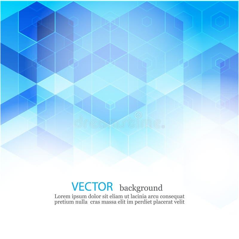 Abstrakter geometrischer Hintergrund des Vektors Schablonenbroschürendesign Blaue Hexagonform EPS10 vektor abbildung