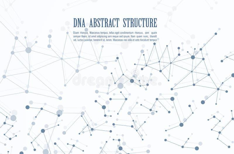 Abstrakter geometrischer Hintergrund DNA, Plan in gesetztem Broschürenfliegerdesignschablonen-Vektorschatten der Technologie A4 lizenzfreie abbildung