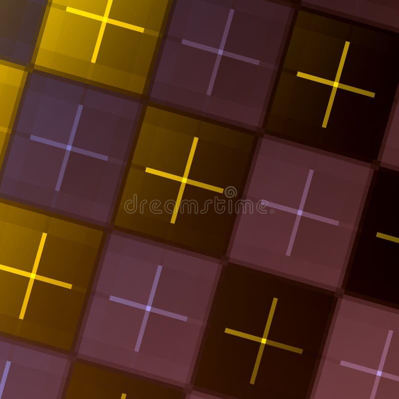 Abstrakter geometrischer Hintergrund - Fliesen wiederholend - grünes purpurrotes quadratisches Fliesen-Muster - grafischer Art De stock abbildung