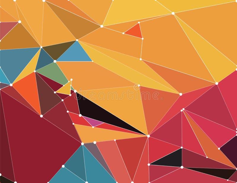 Abstrakter geometrischer Hintergrund mit hellen Farben, wenn die Polygone der Zukunft, mit Polygonverbindungslinien gefaltet sind lizenzfreie abbildung