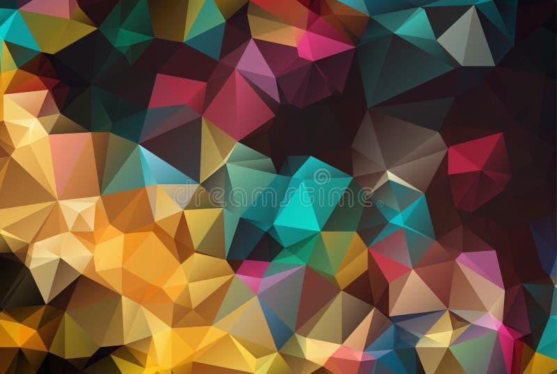 Abstrakter geometrischer Hintergrund mit Polygonen Informationsgraphikzusammensetzung mit geometrischen Formen Retro Kennsatzausl vektor abbildung