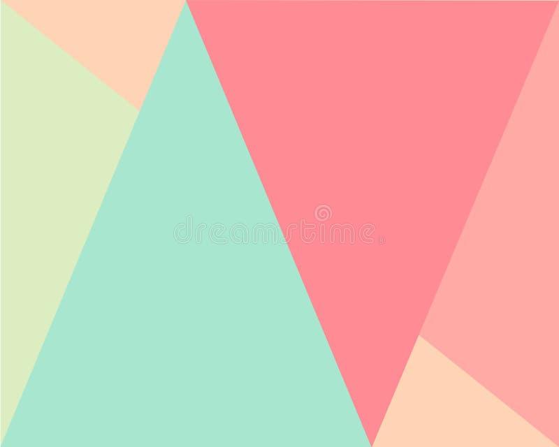 Abstrakter geometrischer Hintergrund, Muster hellgrün, beige, grüne, rosa Dreieckformen lizenzfreie abbildung