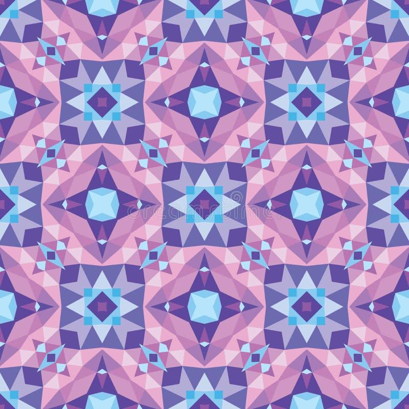 Abstrakter geometrischer Hintergrund - nahtloses Vektormuster in den violetten, lila und blauen Farben Ethnische boho Art (Dekore stock abbildung