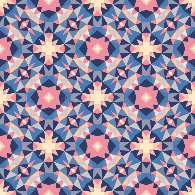 Abstrakter geometrischer Hintergrund - nahtloses Vektormuster in den violetten, rosa, lila und blauen Farben Ethnische boho Art vektor abbildung