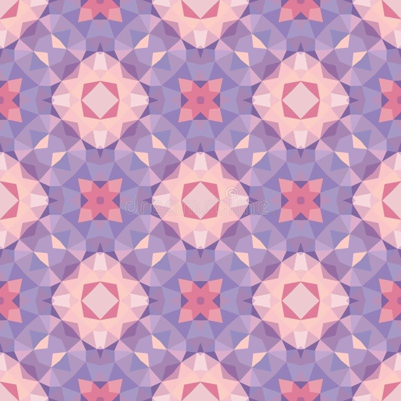 Abstrakter geometrischer Hintergrund - nahtloses Vektormuster in den violetten, rosa und lila Farben Ethnische boho Art (Dekoreur lizenzfreie abbildung